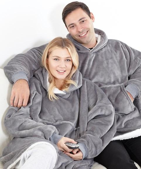 Oversized cosy reversible sherpa hoodie